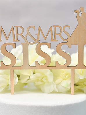 cheap Bridesmaid Dresses-Cake Topper Classic Theme / Wedding Love Wooden / Bamboo Wedding / Anniversary with Net 1 pcs OPP