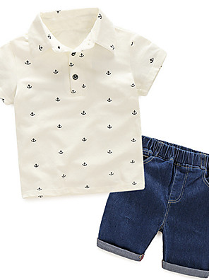 cheap Boys' Clothing Sets-Kids Boys' Active Basic School Going out Print Solid Colored Print Short Sleeve Regular Regular Clothing Set White