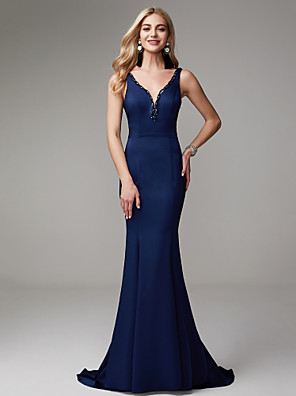 cheap Bridesmaid Dresses-Mermaid / Trumpet Elegant Beautiful Back Formal Evening Dress Plunging Neck Sleeveless Sweep / Brush Train Chiffon with Beading Cascading Ruffles 2020
