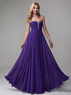 cheap Prom Dresses-A-Line Elegant Minimalist Prom Formal Evening Dress Strapless Sleeveless Floor Length Chiffon with Beading 2020