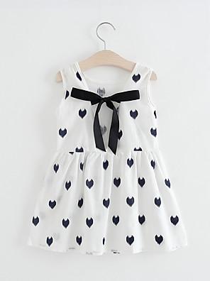 cheap Girls' Dresses-Kids Girls' Sweet Cute Daily School Geometric Print Sleeveless Knee-length Dress White / Cotton