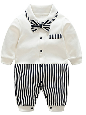 cheap Boys' Clothing Sets-Baby Boys' Basic Daily Striped Printing / Patchwork Long Sleeve Cotton Romper Black