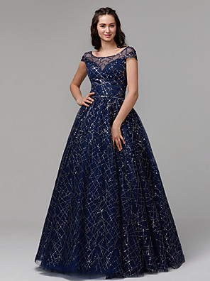 cheap Prom Dresses-Ball Gown Sparkle Blue Quinceanera Prom Dress Illusion Neck Short Sleeve Floor Length Tulle Sequined with Crystals Sequin 2020