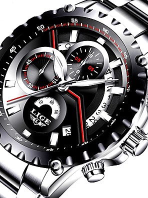 cheap Sport Watches-Men's Dress Watch Quartz Luxury Water Resistant / Waterproof Stainless Steel Black / Silver Analog - Black / Silver Black Black / White Two Years Battery Life / Japanese / Calendar / date / day