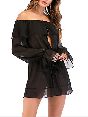 cheap Women's Dresses-Women's Mini Little Black Dress - Long Sleeve Solid Colored Boat Neck Party Going out Slim Off Shoulder Black M L XL XXL / Sexy