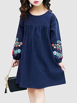 cheap Girls' Dresses-Kids Girls' Sweet Street chic Daily Going out Floral Embroidered Long Sleeve Dress Navy Blue / Cotton
