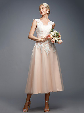 A-Line V Neck Tea Length Lace   Tulle Made-To-Measure Wedding.
