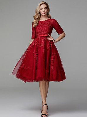 cheap Cocktail Dresses-A-Line Hot Red Cocktail Party Prom Dress Jewel Neck Half Sleeve Knee Length Lace Tulle with Appliques 2020