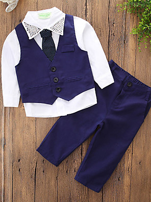 cheap Boys' Clothing Sets-Kids Boys' Basic Street chic Daily Holiday Solid Colored Rivet Long Sleeve Regular Clothing Set Blue