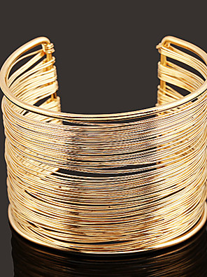 cheap Quartz Watches-Women's Cuff Bracelet Wide Bangle Layered Simple European Fashion Alloy Bracelet Jewelry Gold / Silver For Daily