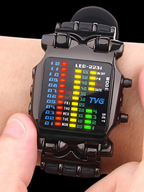 cheap Sport Watches-Men's Sport Watch Military Watch Digital Watch Digital Luxury Creative Stainless Steel Black Digital - Black Silver One Year Battery Life / Japanese / Luminous / Japanese / Maxell CR2025