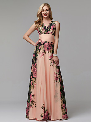 cheap Evening Dresses-A-Line Floral Holiday Wedding Guest Dress V Neck Sleeveless Floor Length Chiffon with Pattern / Print 2020