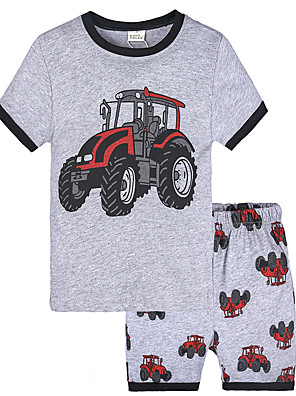 cheap Boys' Clothing Sets-Toddler Boys' Active Vintage Daily School Print Short Sleeve Regular Regular Clothing Set Gray