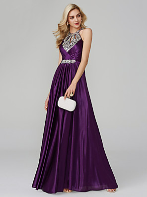 cheap Evening Dresses-A-Line Empire Purple Party Wear Prom Dress Halter Neck Sleeveless Floor Length Silk with Crystals Sequin 2020