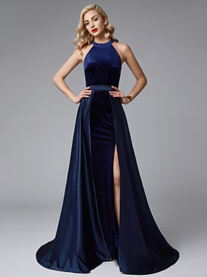 cheap Prom Dresses-A-Line Furcal Prom Formal Evening Dress Jewel Neck Sleeveless Sweep / Brush Train Satin Velvet with Split Front 2020