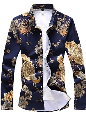 cheap Shirts-Men's Plus Size Shirt Floral Animal Print Long Sleeve Tops Basic Navy Blue
