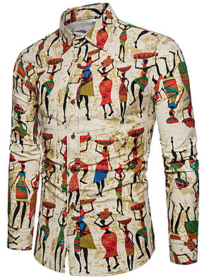 cheap Men's Shirts-Men's Geometric Cartoon Print Shirt Daily Khaki / Spring / Long Sleeve