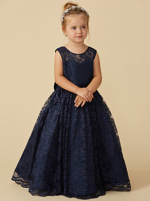 cheap Flower Girl Dresses-Ball Gown Floor Length Pageant Flower Girl Dresses - Lace Sleeveless Jewel Neck with Sash / Ribbon / Bow(s)