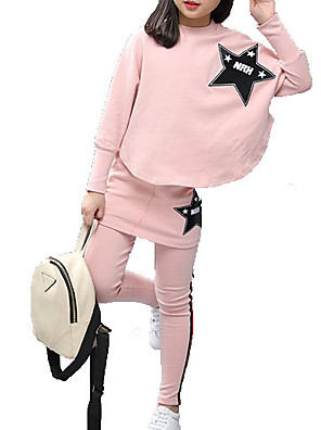 cheap Girls' Dresses-Kids Girls' Basic Solid Colored Long Sleeve Clothing Set Blushing Pink