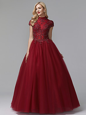 cheap Evening Dresses-Ball Gown Elegant & Luxurious Chinese Style Vintage Inspired Prom Formal Evening Dress High Neck Short Sleeve Floor Length Satin Tulle with Beading Appliques 2020