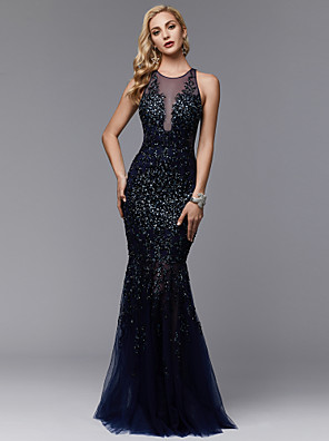 cheap Prom Dresses-Mermaid / Trumpet Sparkle & Shine See Through Beaded & Sequin Formal Evening Wedding Party Dress Jewel Neck Sleeveless Floor Length Lace Tulle with Pleats Beading Appliques 2020