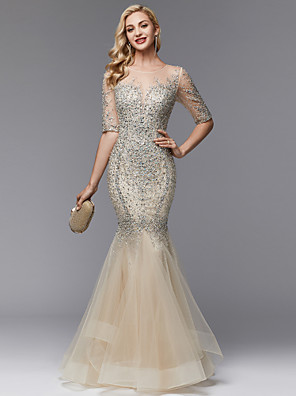 cheap Evening Dresses-Mermaid / Trumpet Elegant & Luxurious Sparkle & Shine See Through Prom Formal Evening Dress Illusion Neck Half Sleeve Floor Length Lace Tulle with Pearls Beading 2020 / Illusion Sleeve