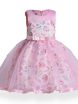 cheap Girls' Dresses-Kids Girls' Active Daily Geometric Print Sleeveless Above Knee Dress Blushing Pink