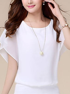 cheap Women's Blouses & Shirts-Women's Blouse Solid Colored Tops White Black Blue