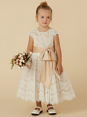 cheap Flower Girl Dresses-A-Line Tea Length Pageant Flower Girl Dresses - Lace / Taffeta Short Sleeve Jewel Neck with Sash / Ribbon / Bow(s) / Spring / Summer / Fall