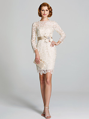 cheap Free Shipping-Sheath / Column Mother of the Bride Dress Floral Jewel Neck Knee Length Lace 3/4 Length Sleeve with Lace Sash / Ribbon 2020