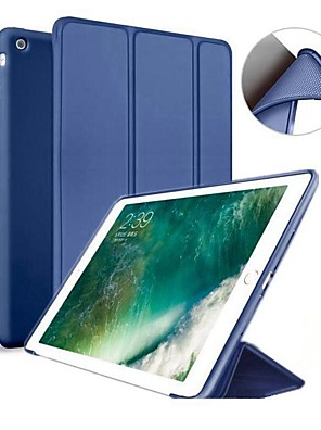 cheap iPad case-Case For Apple iPad Air / iPad 4/3/2 / iPad Mini 3/2/1 with Stand / Magnetic Full Body Cases Solid Colored Hard Silicone / iPad Pro 10.5