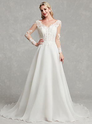 cheap Wedding Dresses-A-Line Wedding Dresses V Neck Chapel Train Lace Tulle Long Sleeve with Lace 2020