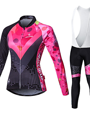 cheap Women's Cycling Jersey & Shorts / Pants Sets-Malciklo Women's Long Sleeve Cycling Jersey with Bib Tights - White / Black Bike Tights / Clothing Suit, Breathable, 3D Pad, Quick Dry Coolmax®, Lycra Patchwork / High Elasticity / Plus Size