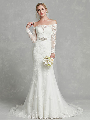 cheap Wedding Dresses-Mermaid / Trumpet Wedding Dresses Off Shoulder Court Train Lace Tulle Long Sleeve Sexy Sparkle & Shine Plus Size Illusion Sleeve with Sashes / Ribbons Crystals Appliques 2020