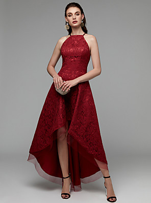 cheap Cocktail Dresses-A-Line Sexy Red Cocktail Party Prom Dress Halter Neck Sleeveless Asymmetrical Lace with Pleats Lace Insert 2020