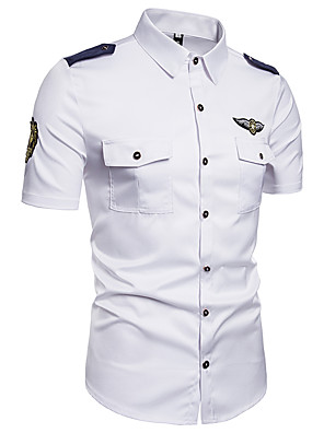 abordables Camisas de Hombre-Hombre Un Color Bordado Camisa - Algodón Chic de Calle Festivos Noche Cuello Inglés Blanco / Manga Corta