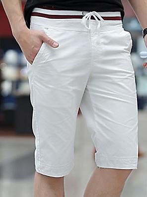 cheap Men's Pants & Shorts-Men's Basic Plus Size Daily Slim Chinos Shorts Bermuda shorts Pants Solid Colored Drawstring White Black Blue M L XL