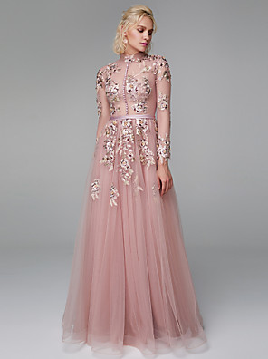 cheap Special Occasion Dresses-A-Line Elegant Floral Chinese Style Prom Formal Evening Dress High Neck Long Sleeve Floor Length Lace Tulle with Buttons Embroidery 2020 / Illusion Sleeve