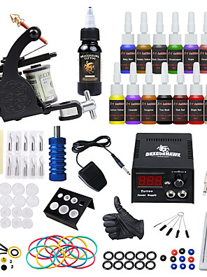 cheap Quartz Watches-Tattoo Machine Starter Kit - 1 pcs Tattoo Machines with 15*5 ml tattoo inks, Safety, All in One, Easy to Setup Alloy LCD power supply 1 alloy machine liner & shader