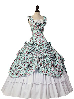 cheap Historical & Vintage Costumes-Cosplay Lolita Victorian 18th Century Dress Outfits Masquerade Women's Costume Blue / White Vintage Cosplay Sleeveless Ball Gown Plus Size Customized