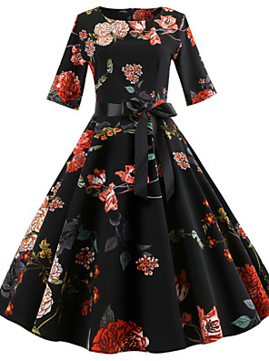 cheap Women's Dresses-Women's A Line Dress - Half Sleeve Floral Bow Print Spring 1950s Vintage Holiday Going out Festival Black S M L XL XXL / Cotton