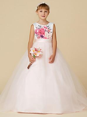 cheap Girls' Dresses-Princess Sweep / Brush Train Wedding / Birthday / Pageant Flower Girl Dresses - Satin / Tulle Sleeveless Jewel Neck with Sash / Ribbon / Print