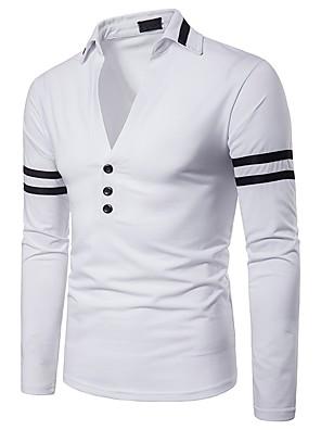 baratos Pólos Masculinas-Homens Polo Sólido Patchwork Blusas Básico Punk & Góticas Branco Vermelho Azul Marinha / Manga Longa