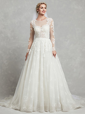 cheap Wedding Dresses-A-Line Wedding Dresses Jewel Neck Court Train Lace Tulle Long Sleeve Sexy See-Through Illusion Detail Backless with Lace Appliques 2020
