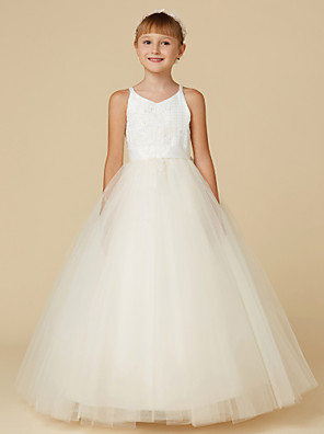 cheap Flower Girl Dresses-Princess Floor Length Wedding / First Communion / Pageant Flower Girl Dresses - Lace / Tulle Sleeveless Spaghetti Strap with Bow(s) / Appliques