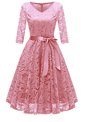cheap Women's Dresses-Women's Dusty Rose A Line Dress - Long Sleeve Lace Bow Fall V Neck 1950s Vintage Party Going out Wine Blushing Pink Navy Blue Beige Gray S M L XL XXL XXXL