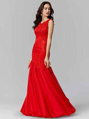 cheap Evening Dresses-Mermaid / Trumpet Luxurious Red Engagement Formal Evening Dress Jewel Neck Sleeveless Floor Length Lace Over Charmeuse with Sequin Appliques 2020
