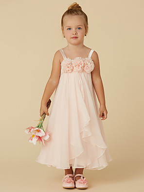 cheap Flower Girl Dresses-Sheath / Column Tea Length Pageant Flower Girl Dresses - Chiffon Sleeveless Straps with Flower