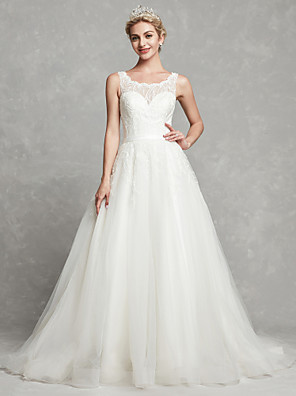 cheap Wedding Dresses-A-Line Wedding Dresses Scoop Neck Chapel Train Lace Tulle Regular Straps Formal Illusion Detail with Lace Sash / Ribbon 2020