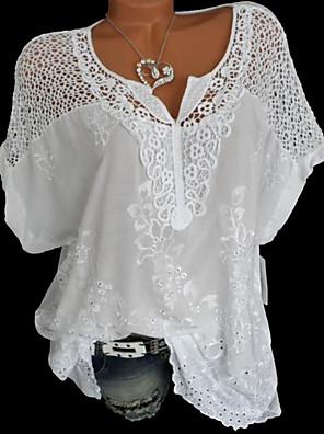 povoljno Majica-Žene Jednobojni Čipka Širok kroj Bluza Kauzalni V izrez Obala / Crn / Plava / Red / Sive boje